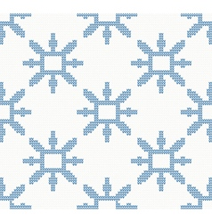 Christmas knitted pattern with blue snowflakes vector