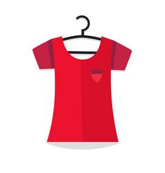 Clothing blouse hanging on wardrobe dress hanger vector