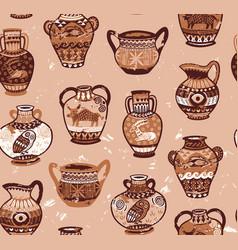 Collection of amphora and vase wig cartoon animals vector