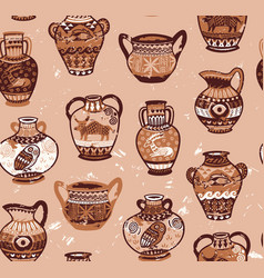 Collection of amphora and vase wih cartoon animals vector