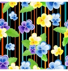 Colorfulseamless pattern with pansies-01 vector