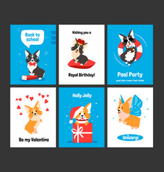 corgi greeting card cartoon dog on banners vector image