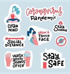coronavirus covid19-19 prevention sticker set hand vector image