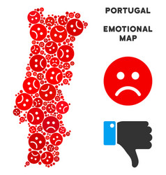 Crisis portugal map composition of sad vector