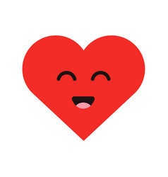 cute cartoon emoticon happy heart in modern flat vector image