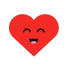 Cute cartoon emoticon happy heart in modern flat vector