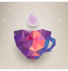 cute colorful cup made of triangles Label vector image