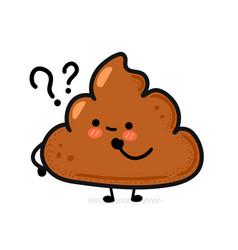 Cute funny happy poop hand drawn cartoon vector