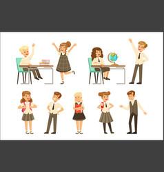 cute pupils in grey school uniform having fun vector image