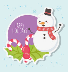 cute snowman with scarf and candy canes merry vector image