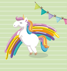 Cute unicorn with rainbow kawaii character vector