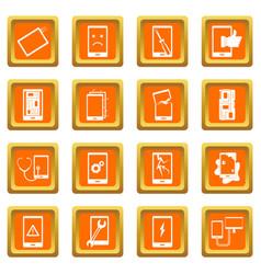 Device repair symbols icons set orange vector