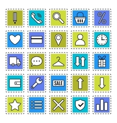 E-Commerce Signs symbols Internet shopping Flat vector image