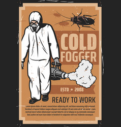 exterminator with cold fogger insect control vector image