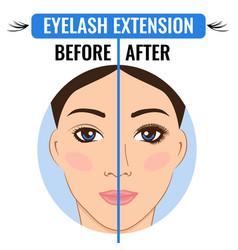 Eyelash extension before and after eyelash vector
