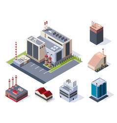 factory isometric concept industrial working vector image