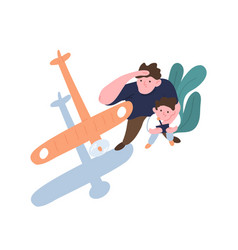 father and son launch model aircraft dad and kid vector image