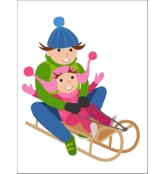 Father and son on sled winter sports vector image