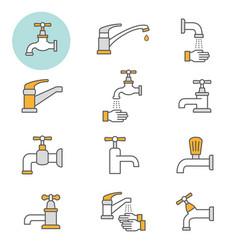 faucet flat line icon set vector image