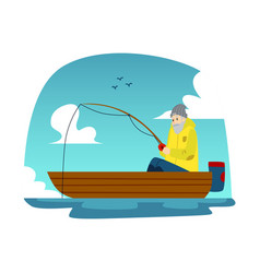 fisherman in a boat flat on a vector image