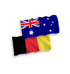 Flags of belgium and australia on a white vector