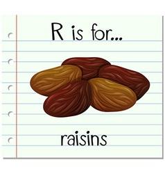 Flashcard letter r is for raisins vector