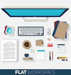 Flat design of office workspace Top view of vector image