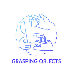 Grasping objects blue gradient concept icon vector