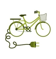 green eco-friendly bike with plug vector image