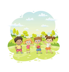 group of children ist standing in a meadow vector image
