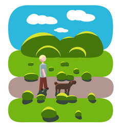 Guy and his dog walk in park vector