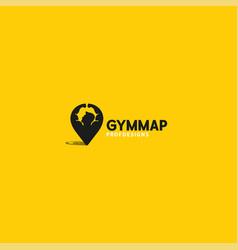 gym map strong pin logo art icon vector image
