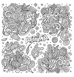 Hand drawn doodles cartoon set of africa vector