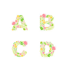 hand drawn floral uppercase letter vector image
