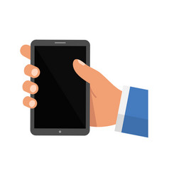 hand holding smartphone isolated on white vector image