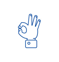 hand ok line icon concept hand ok flat vector image