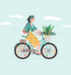 Happy girl dressed in trendy clothes riding city vector