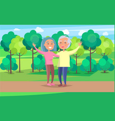 Happy grandparent senior couple wave hands in park vector