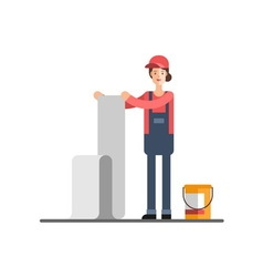 House repair Woman glues wallpaper vector image