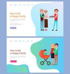 How to be happy family parents with perambulator vector