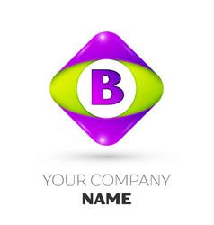 Letter b logo symbol in colorful rhombus vector