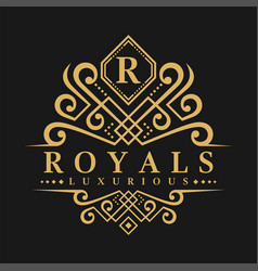 Letter r logo - classic luxurious style logo vector