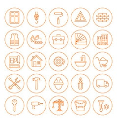 Line Circle Building and Construction Icons Set vector