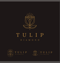 lineart tulip flower and diamond logo icon vector image