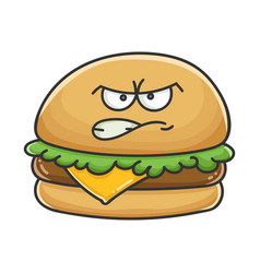 Mad angry cheese burger cartoon vector