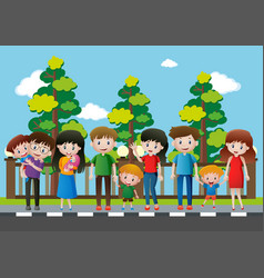 many people standing on the pavement vector image