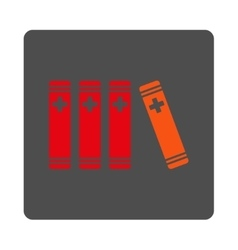 Medical Library Flat Button vector