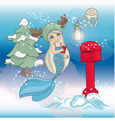 Mermaid christmas tree new year color vector