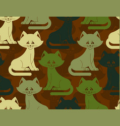 Military texture cat army kitten seamless texture vector