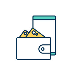 mobile payment service rgb color icon vector image